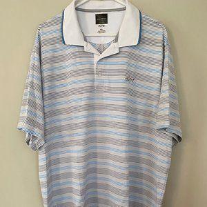 Greg Norman Polo Golf Shirt XXL 2XL White Blue Tan
